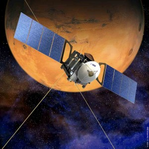 Künstlerische Darstellung der europäischen Mars Express Raumsonde Quelle: ESA